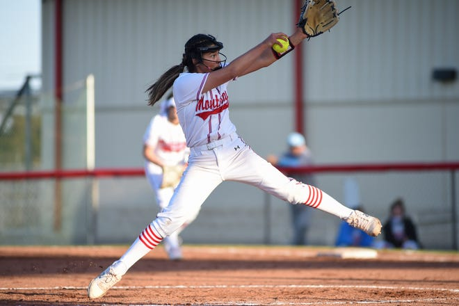 Monterey's Anays Perez (3) throws a pitch during a District 4-5A softball home game against Abilene Wylie on March 23.