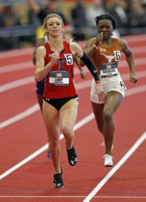 Texas Tech's Sara Limp competes in the 400 meters at the 2019 Big 12 indoor track and field championships. Limp is back competing for the Lady Raiders after redshirting during the 2019 outdoor season and not having a 2020 outdoor season because of the COVID-19 outbreak.