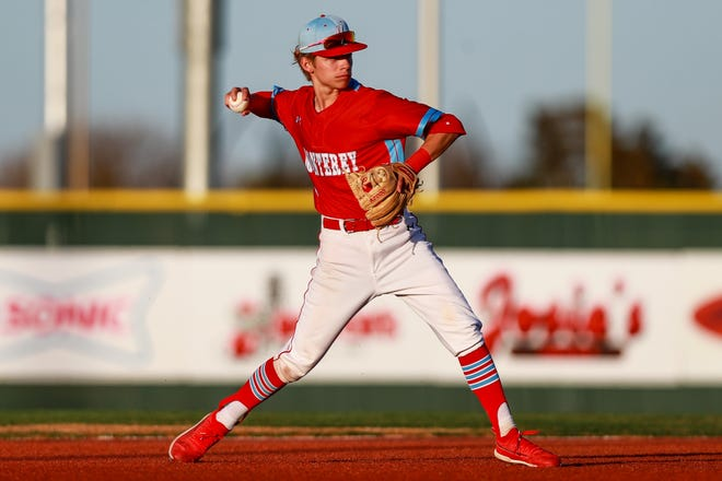 Nick Zarate, pictured here in a game earlier this season, capped a four-run inning with an RBI single that helped Monterey beat No. 6 Amarillo 6-5 Friday night in the first game of a best-of-three Class 5A bi-district baseball series.