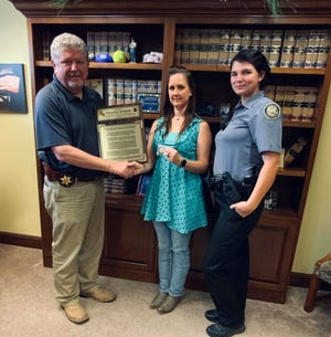 Natascha Kirkeby was honored for her dedicated volunteer service to the BPSO Animal control division.