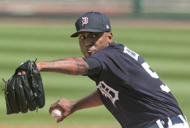 Detroit Tigers starting pitcher Julio Teheran will begin the year in the Tigers' regular season pitching rotation.