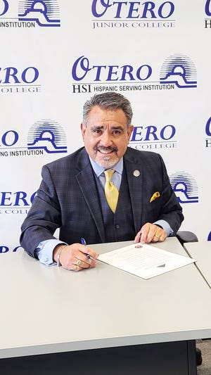 Otero Junior College president Timothy Alvarez signed the Equity Pledge, a document that addresses equity gaps in the educational system and uses strategies to promote enrollment, persistence and completion.