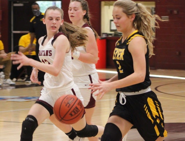 Keyser's Maddy Broadwater moves the ball down court against Bishop Walsh on Monday. Broadwater finished with a game-high 21 points and added five steals and four rebounds.