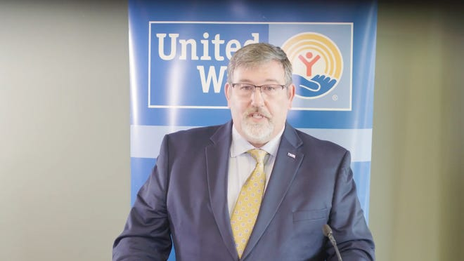 Mike Larson, president and CEO of Michigan Association of United Ways, speaks during a Facebook Live presentation Tuesday.