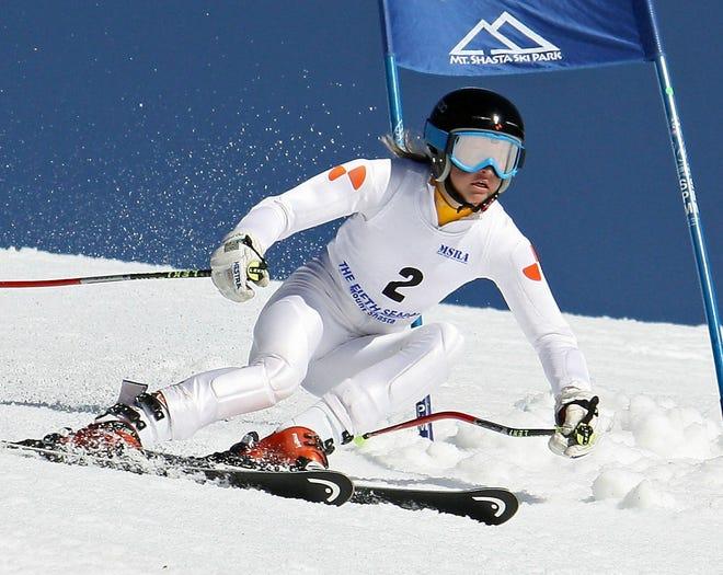 Tahoe skier Amanda Petitt races down the slopes at Mt. Shasta Ski Park.