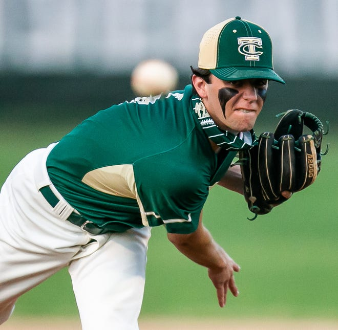 Trinity Catholic's Cole Stephens pitches early in the game. The Celtics defeated the Dunnellon Tigers, 11-1, on Tuesday night.