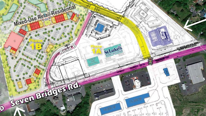 A zoomed-in view of where the St. Luke's medical offices and a 9,000-square-foot retail building will be located within the Smithfield Gateway complex.