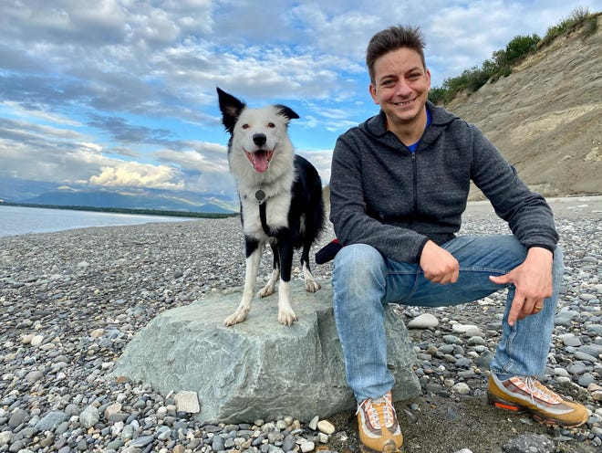 Celebrity dog trainer and YouTube star Zak George and his border collie, Inertia.