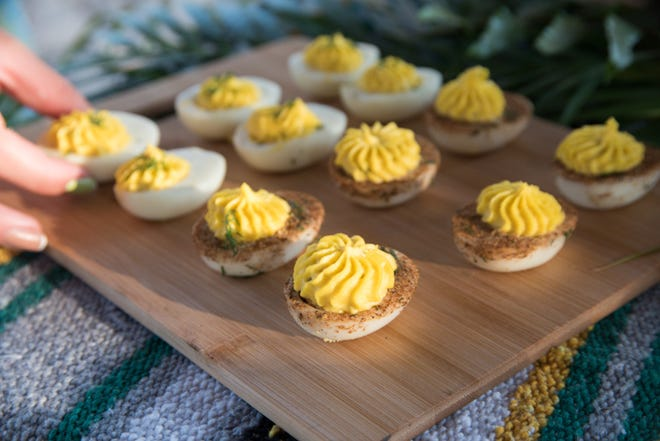 We took inspiration from a recipe by Chef Lindsay Autry and made Southern-style deviled eggs.