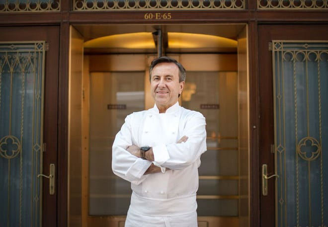 Celebrated chef and restaurateur Daniel Boulud at his Michelin-starred Restaurant Daniel in New York's Upper East Side.
