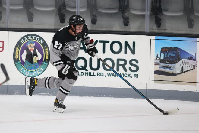 Providence College's Tyce Thompson, shown in a Dec. 5 game vs. Boston College, has signed an entry-level contract with the New Jersey Devils.