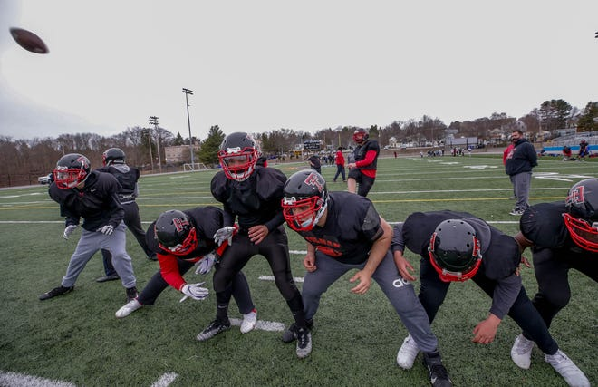 Tolman football players practice at Max Read Field in Pawtucket on Wednesday afternoon. The Tigers will be competing in Division II this season.