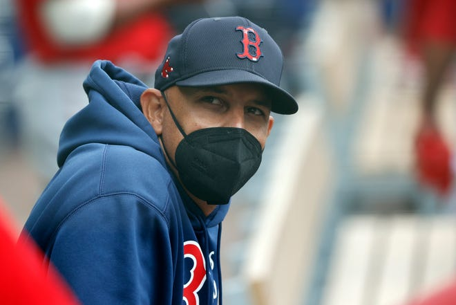 """Red Sox manager Alex Cora, shown during a spring training game last week against the Atlanta Braves in North Port, Fla., says he """"disappointed a lot of people"""" by participating in a sign-stealing scheme with the Houston Astros in 2017."""