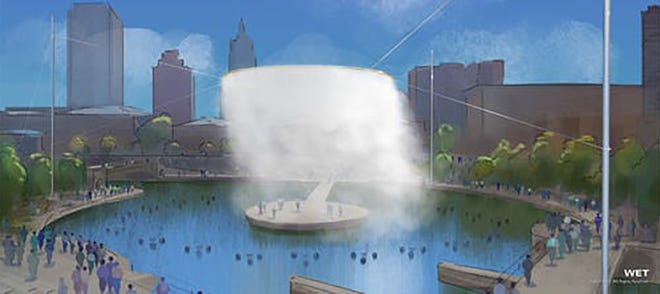 A rendering of the reimagined Waterplace Park with a mist-generating ring suspended above the tidal basin.