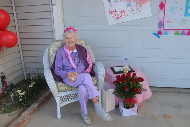 Marge Anderson on her 96th birthday in Ridgecrest.