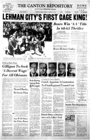 The front page of The Canton Repository on March 28, 1971 after the Lehman Polar Bears became the first Canton City School to win a state basketball championship.