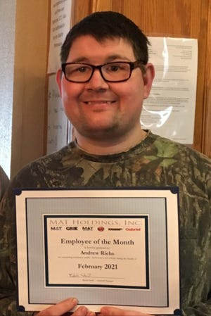 Andrew Riehs works at Sanborn Manufacturing in Springfield, where he was honored as Employee of the Month in February. Andrew is generous with his time, talent and treasure in the Redwood Falls community.