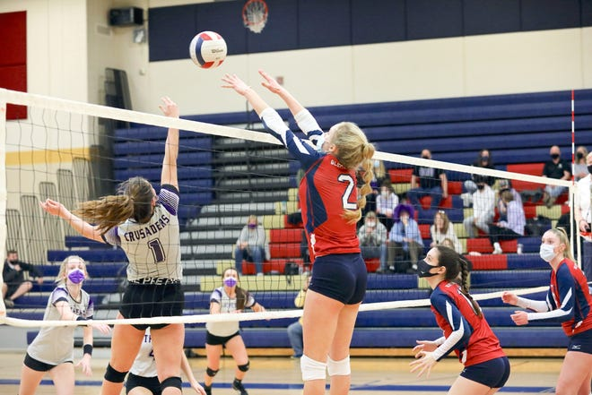 Belvidere North's Ava Irvin hits the ball over the net last Saturday in the Blue Thunder's win against Big Northern favorite Rockford Lutheran, which finished fourth in the state in Class 2A last season.