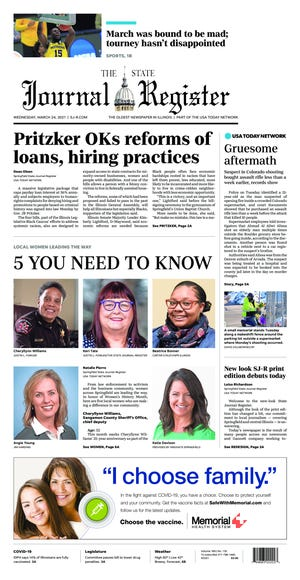 Page A1 of the March 24, 2021, State Journal-Register