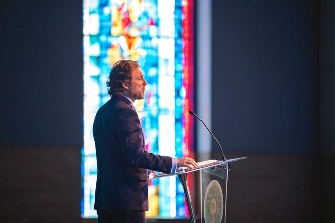 OBU President Dr. Heath A. Thomas delivered the chapel message Wednesday, March 24, in Raley Chapel's Potter Auditorium.