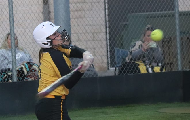Tecumseh's Bristin Hayes takes a cut for a home run against Dale on Tuesday.