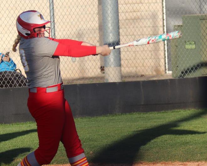 Dale's Maddie Conley connects for one of her three home runs against Tecumseh Tuesday.