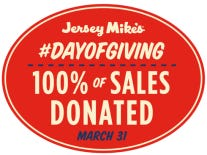 Jersey Mike's Day of Giving will be Wednesday, March 31.