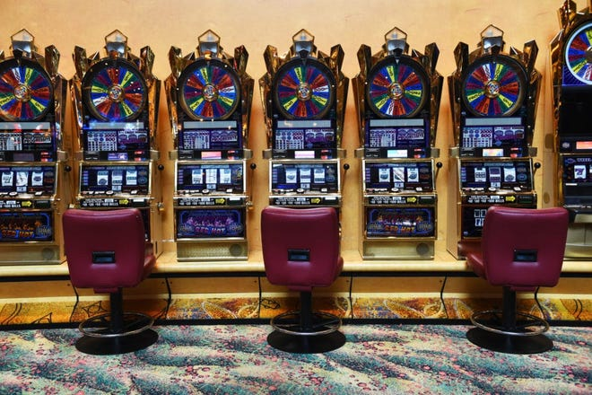 Slots at Mohegan Sun, where every other machine is closed to promote social distancing during the pandemic.