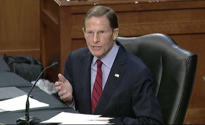"""""""We need to end this epidemic with a comprehensive nationwide approach. Expanded background checks. Extreme risk laws to prevent suicides, mass shootings and hate crimes. Protecting domestic violence victims and safe storage standards,"""" said Sen. Richard Blumenthal, D-Conn. """"These kind of measures are within our reach."""""""