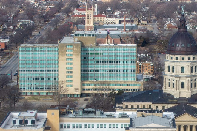 The Docking State Office Building, 915 S.W. Harrison St., is seen from a helicopter on Feb. 27, 2020.