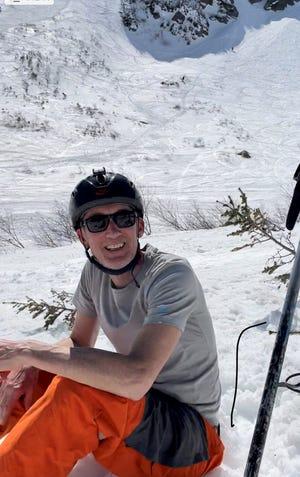 Gregor Bernard pauses while enjoying some spring hiking and skiing at Tuckerman Ravine.