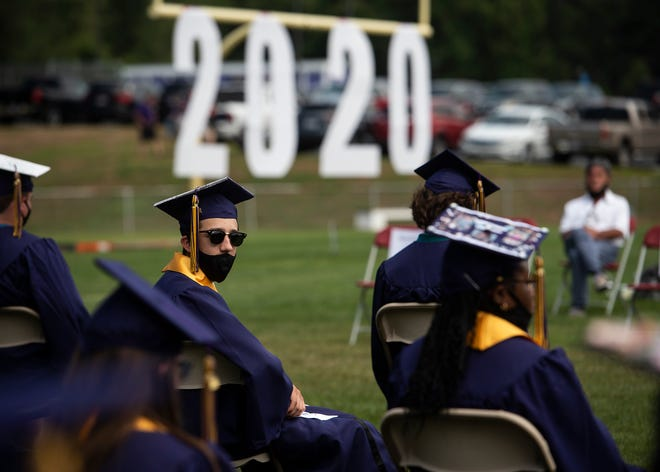 UPTON - Blackstone Valley Regional Vocational Technical High School held a socially distanced graduation for their Class of 2020 on Aug. 8, 2020