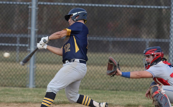 Kent State Tuscarawas batter Owen Nunnally drives in the winning run in the 8th inning of the second game of a doubleheader Tuesday for a 2-1 win over Lakeland Community College.
