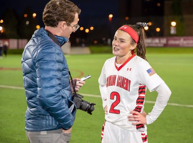 CHSAA Director of Digital Media Ryan Casey interviews a player following a game. [Courtesy photo/Ryan Casey]