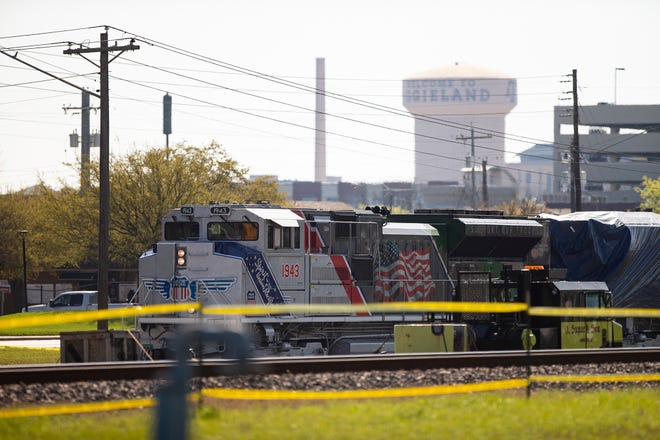 U.P. No. 1943 pulls Union Pacific Engine 4141 into College Station by rail on Sunday, March 21, 2021. The locomotive, which delivered former President George H.W. Bush to his final resting place in College Station in December of 2018, will be put on display at the George H.W. Bush Presidential Library and Museum. (Cassie Stricker/College Station Eagle via AP)
