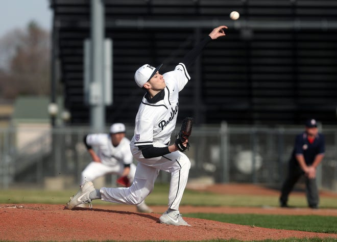 North's Brandon Miller delivers a pitch against visiting Olentangy Orange during a scrimmage March 23. Miller is one of only three seniors on the Panthers, who have no returnees from their 2019 team that went 18-10.