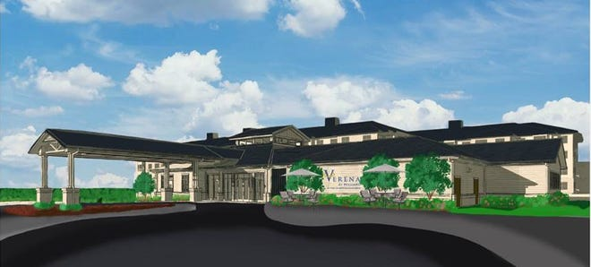 This rendering illustrates the proposed clubhouse at Verena at Hilliard.