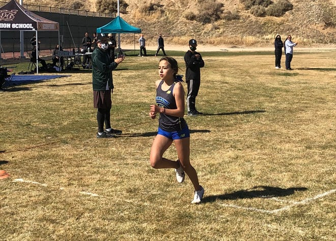 Serrano's Tiani Goeson heads to the finish line at the Mojave River League Finals at Victor Valley College on Wednesday, March 24, 2021.
