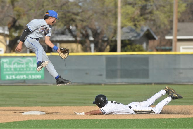 Abilene High's Joseph Woodyard steals second in the fourth inning as Wolfforth Frenship' shortstop John Mark Gonzales can't come up with a high throw.
