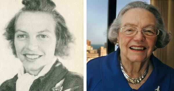 Maxine Edmondson Flournoy was part of the Women Airforce Service Pilots, or WASPs, during World War II. At left is her class photo, provided courtesy of the Official WASP Archive at Texas Woman's University. At right is Flournoy in 2010 when she traveled to Washington D.C. with other surviving WASPs to accept the Congressional Gold Medal.
