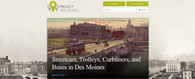 A screenshot of the library's new Project Des Moines local history website.