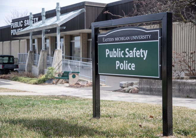 Eastern Michigan University Public Safety Police building in Ypsilanti, Tuesday, March 23, 2021.