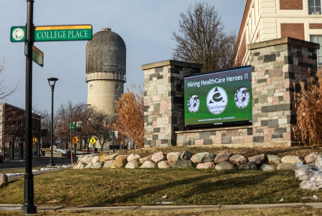 The Eastern Michigan University campus in Ypsilanti, Mich. on Wednesday, Jan.13, 2021.