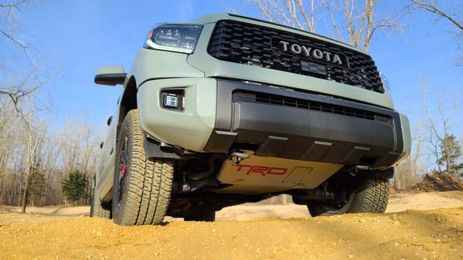 The 2021 Toyota Tundra TRD Pro features a skid plate to take underbelly punishment off-road.