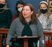 In this image from video, Sen. Tammy Duckworth, D-Ill., speaks as the Senate reconvenes after protesters stormed into the U.S. Capitol on Wednesday, Jan. 6, 2021.
