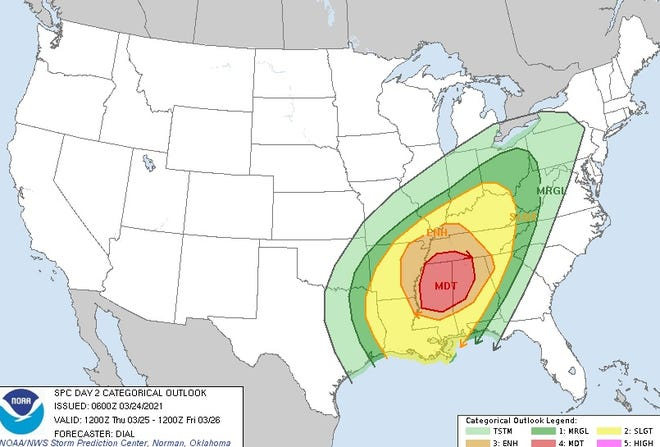 """The Storm Prediction Center's outlook for Thursday places the Tri-State in a """"slight risk"""" area for severe weather."""