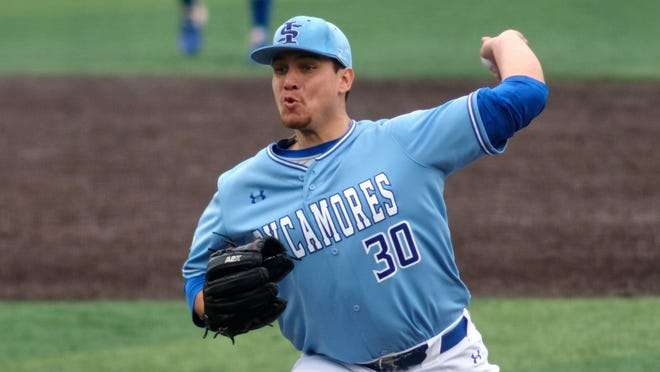 Indiana State pitcher Geremy Guerrero (30) during an NCAA baseball game against Tennessee on Saturday, Feb. 27, 2021, in Knoxville, Tenn. (AP Photo/Shawn Millsaps)
