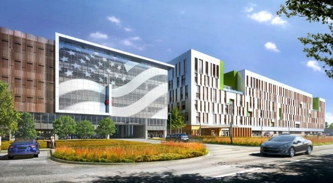 A rendering of a proposed VA hospital to be built in Louisville on Brownsboro Road.