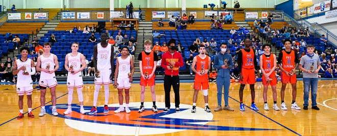 Belfry's Bol Kuir, fourth from left, stands at 7-foot-3 and leads the state in rebounding.