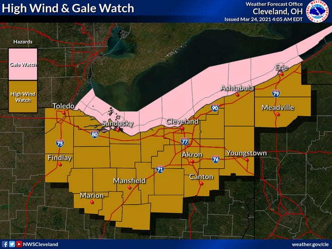 The Cleveland office of the National Weather Service is forecasting high winds Thursday into Friday at 25-35 mph, with gusts of 60 mph possible.
